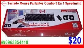 Combo 3 En 1 Speedmind Teclado Mouse Parlantes a $20