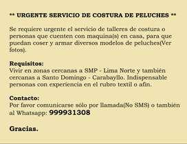 ** URGENTE SERVICIO DE COSTURA DE PELUCHES **