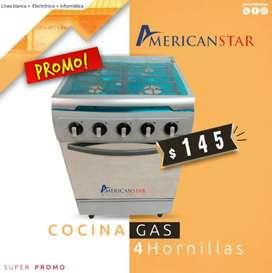 Cocina A Gas American Star 4Q Inoxidable