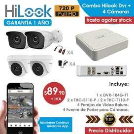 Kit 4 Cámaras Hilook 720p + Grabador de video de 4 Canales - Precio Distribuidor - Garantizado