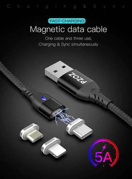 Cable Magnetico Huawei P40 30 20 10 Mate Pro Oppo Carga Rapida v5 Android iPhone MicroUSB Tipo-C Lightining - 0555