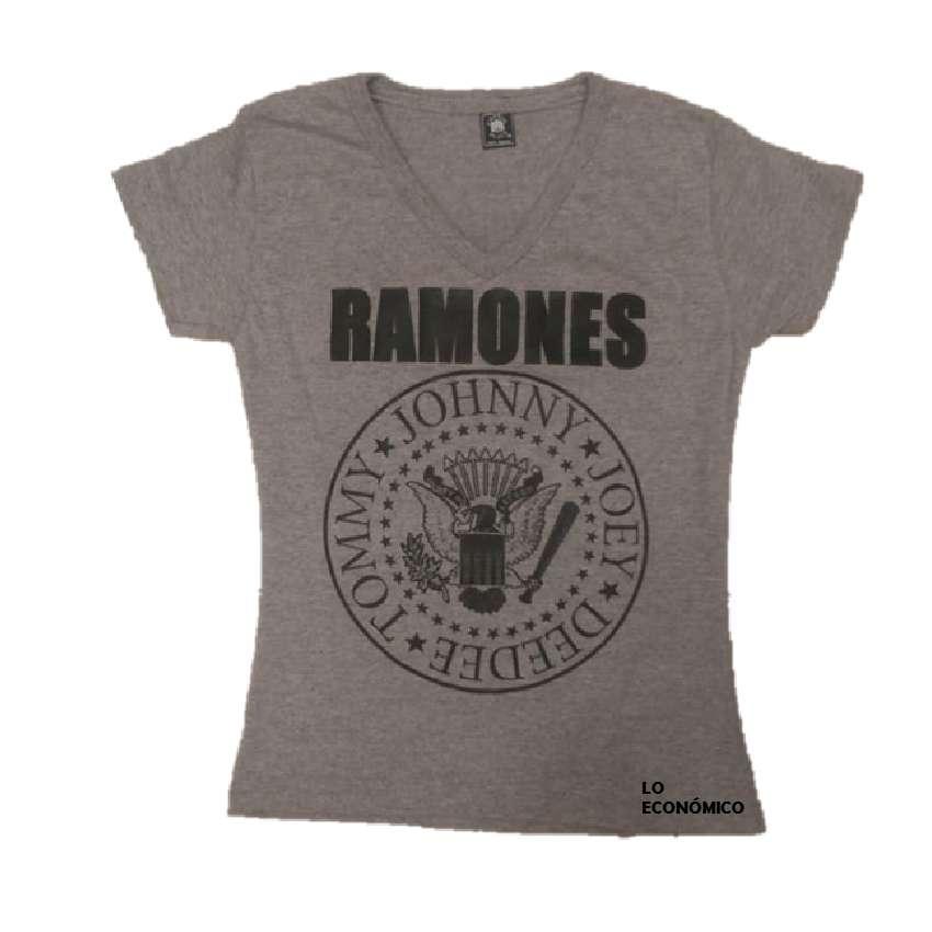 Camiseta Gris Para Dama De Banda Ramones
