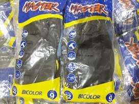 Guantes Máster de caucho bicolor talla 9x docena 1.25 cada uno