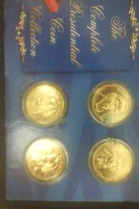 4 Monedas de dólar presidencial chapadas en oro de 24 quilates 4 todo The Franklin Mint