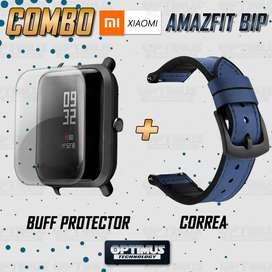 KIT Correa Manilla de cuero leather y Buff Screen protector para Reloj Smartwatch Xiaomi Amazfit Bip