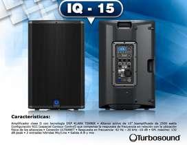"""Turbosound iQ15 2500W activo 15"""" DSP y potencia clase D Klark Teknik, gran sonido, fácil portabilidad"""