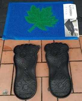 Vendo tapete con huellas para desinfectar tus zapatos