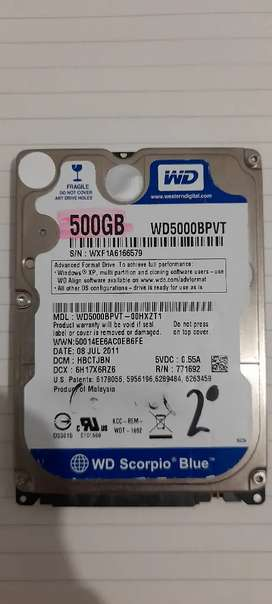 Disco duro para portatil 500GB marca WD usado
