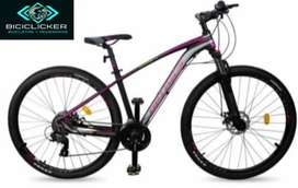 Bicicleta Optimus Aquila morada para dama, grupo shimano biplato de 8 velocidades rin 29, freno de disco hidráulico.