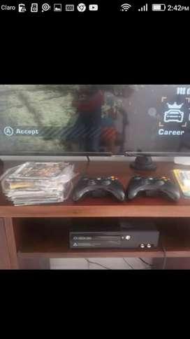 Super slim xbox360 2 controles pilas recargables,20 juegos