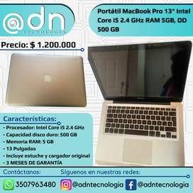 """Portátil MacBook Pro Año 2011, 13"""" Intel Core i5 2.4 GHz RAM 5GB, DD 500 GB"""