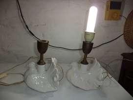 Vintage Lampara velador de mesa 2 paloma de ceramica blanca