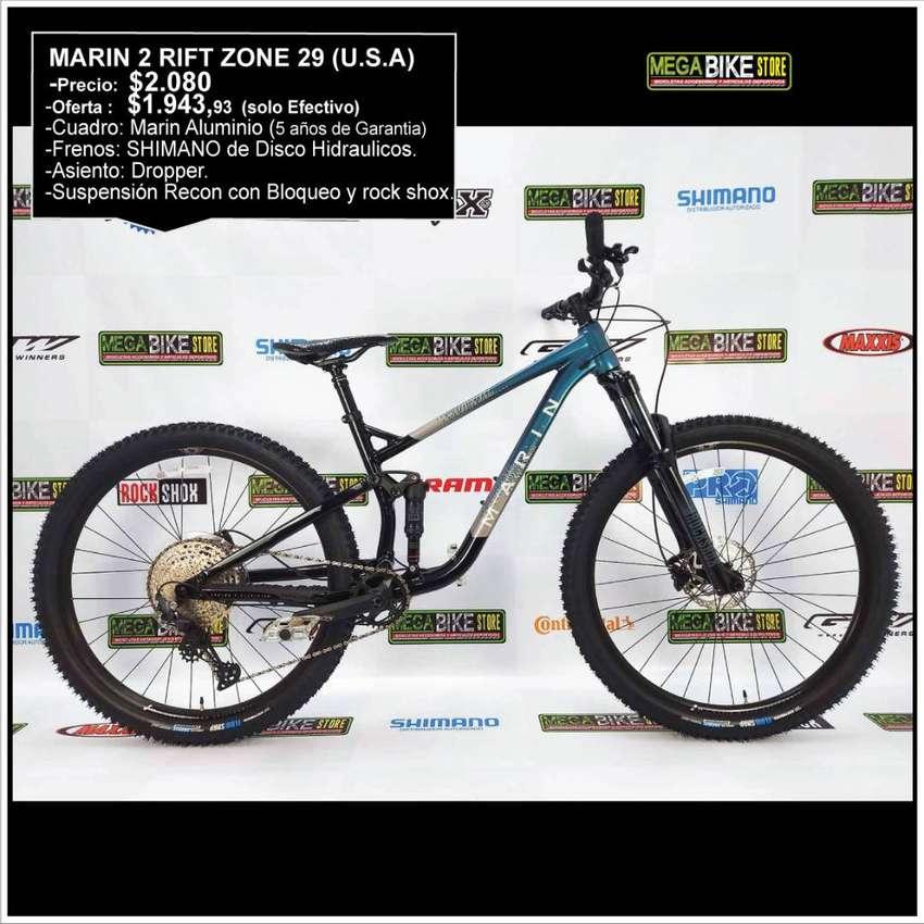 Bicicleta Montañera MARIN 2 RIFT ZONE 29 (ESTADOS UNIDOS) Suspensión Recon y Rock Shox.