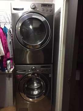 Lavadora y secadora 2 torres.