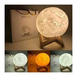 Lámpara Luna 12 Cm 3d Luz Led Colores + Base Madera gran promocion¡¡