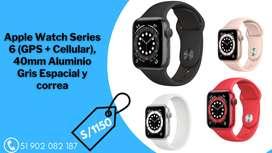 Apple Watch Series 6 (GPS + Cellular), 40mm Aluminio Gris Espacial y correa