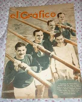 ANTIGUA REVISTA EL GRAFICO 959 REMO COPA AMERICA . HURLINGHAM SANTA INES POLO . RACING vs RIVER 1937