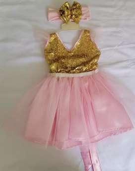 Vestido para niña color rosa y lentejuela dorado para ocasion especial