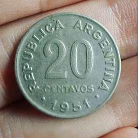 Argentina 20 Centavos 1951 - San Martín anciano