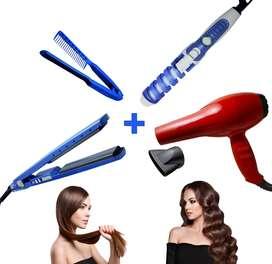 Combo plancha digital /secador/2800w/rizador de cabello /peine