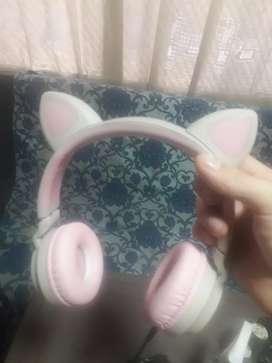 Diademas de gato con bluetooth y luz rosadas con gris