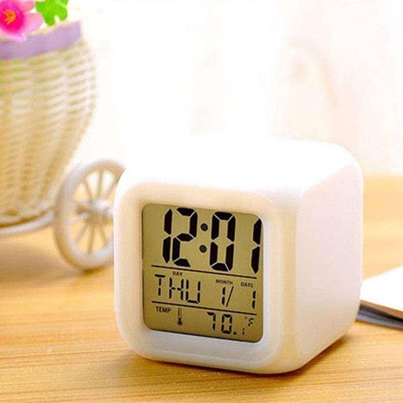 reloj despertador con temperatura 7 melodías luz multicolor 0