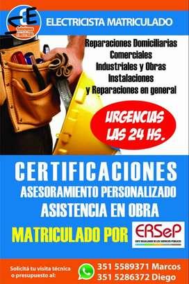 ELECTRICISTA MATRICULADO LAS 24 HS.