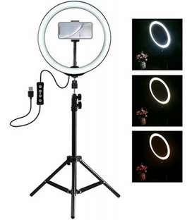 Anillo Aro De Luz Led 26cm + Trípode 2 Metros + Portacelular + 3 luces cantidad