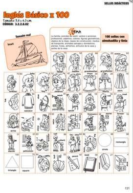 Inglés básico sellos didácticos para colegios, docentes, padres, jardines.