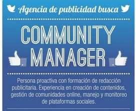 Necesito Community Manager para Guayaquil, que sepa diseñar y transmisiones en directo