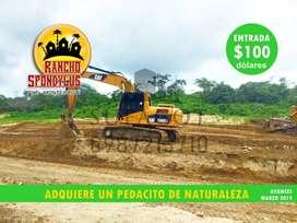 CREDITO DIRECTO-SIN GARANTE, LOTES DE 1.000M2, 100 USD DE ENTRADA, QUINTAS RANCHO SPONDYLUS, A 40 MINUTOS DE MANTA, S1
