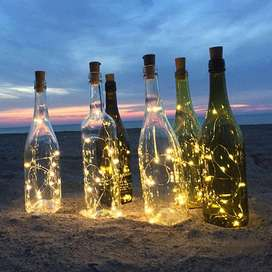 LUZ LED ALAMBRE TIPO CORCHO DECORAZION BOTELLAS X 15 LUCES
