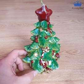 Vela Arbol de Navidad Grande Adorno Decoracion 18 x 8cm