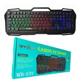 Teclado Metálico Para Gamers Weibo Wb-539 Luces Led Tricolor