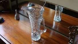 Espectacular jarra de cristal tallada a mano con mezclador