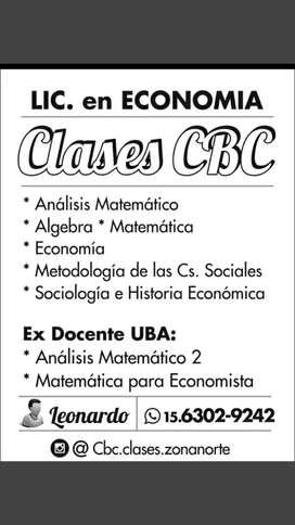 Clases particulares matemáticas/economía/cbc