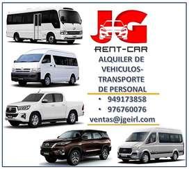 ALQUILER DE CAMIONETAS 4X4 , ALQUILER DE FORTUNER , ALQUILER DE HILUX , VANES , COMBIS, CAMIONES, CUSTER