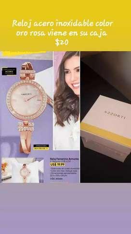Reloj de mujer acero inoxidable color oro rosa elegante $20 a domicilio sin recargo mañana miércoles
