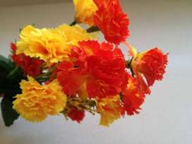 Ramo Bouquet De Flores Artificial Clavel Naranja Amarillo