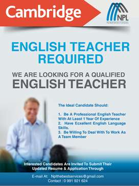 Se requiere profesor de Ingles calificado
