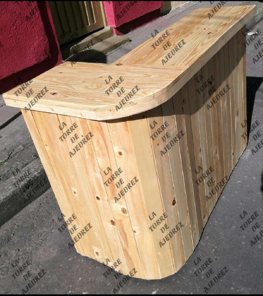 Barra para mostrador en madera nueva 0
