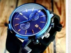 Reloj análogo Fossil bisel azul Quarzo pulso cuero con fechero