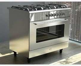 Usada | EXCELENTE ESTADO | Con Doble Convector | Cocina Luxor Gas Garden Steel 900 6 Hornallas