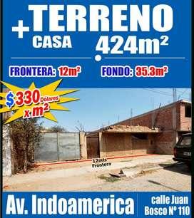 OPORTUNIDAD. Venta TERRENO de 424m², Incluye casa en calle Boston, Paralela a Av. Indoamerica,Trujillo