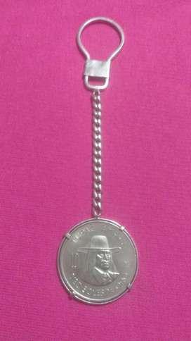 Llavero de plata 9.25 con moneda de coleccion 1972