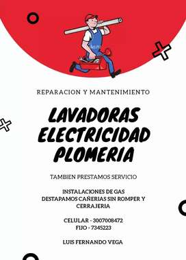 Servicios de Reparacion y mantenimiento electrico - plomeria - cerrajeria y gas
