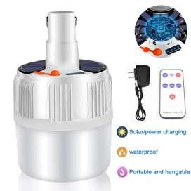 Bombillo led solar recargable control remoto inalambrico 5 tonos luz exterior