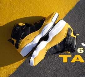 Botas Jordan 6 Anillos Cuero Negro Amarillo Envio Gratis