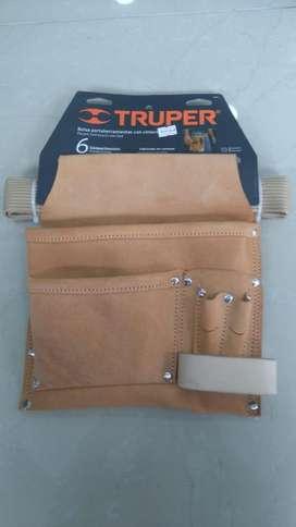 Portaherramientas Truper en cuero con cinturón 6 compartimientos NUEVO