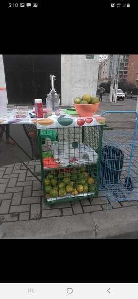Carro para jugo de naranjas con exprimidor y parasol